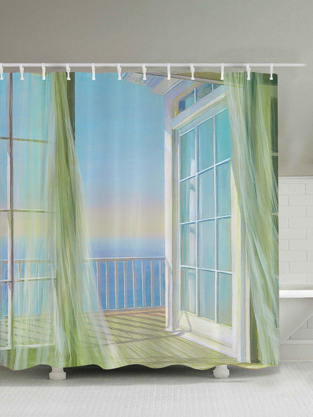 Bath Decor Balcony Seascape Print Shower Curtain 12 pcs resin bubble bath print shower curtain hooks