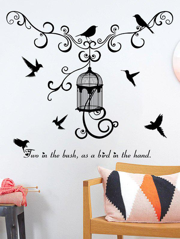 Concise Style Bird Wall Stickers - BLACK 50*70CM