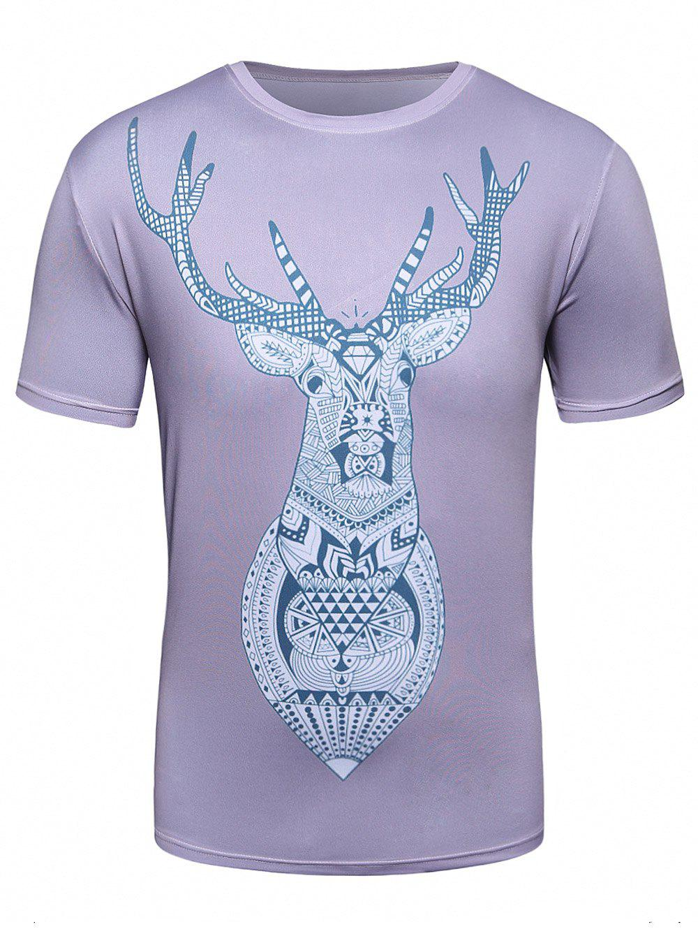 Crew Neck 3D Geometric Elk Trippy T-Shirt 3d galaxy print crew neck trippy t shirt