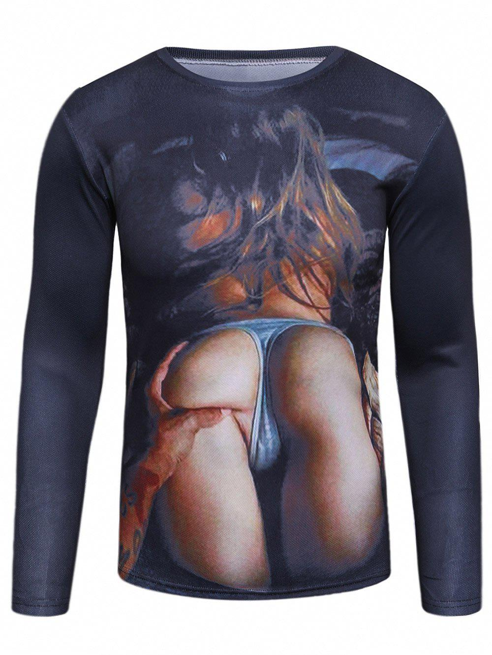 Long Sleeve 3D Girl Arse Print T-Shirt - COLORMIX XL