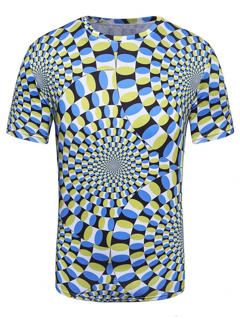 Crew Neck 3D Spiral Print Trippy T-Shirt - COLORMIX XL