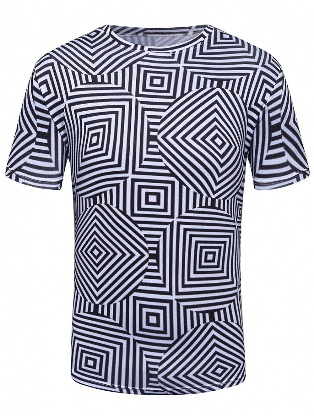 Short Sleeve 3D Labyrinth Geometric Trippy T-Shirt - COLORMIX XL