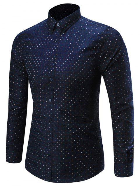 Dots Pattern Long Sleeve Shirt - PURPLISH BLUE 2XL
