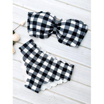 Scalloped Push Up Tartan Bandeau Bikini Sets