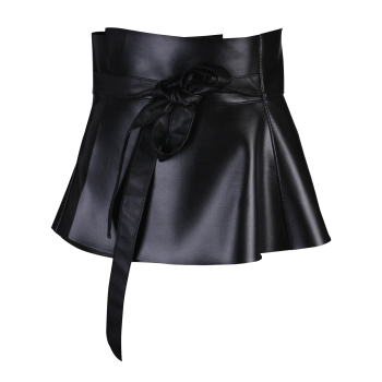 Bowknot Tail PU Leather High Waist Peplum Obi Belt