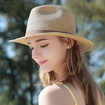 UV Protection Faux Suede Strap Straw Hat