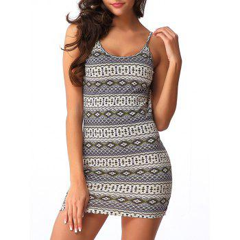 Spaghetti Strap Printed Backless Bodycon Dress