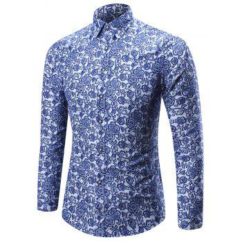 Tiny Floral Print Long Sleeve Shirt
