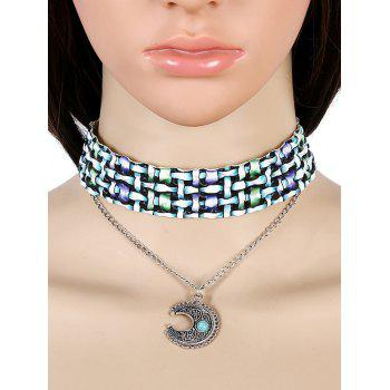 Resin Faux Turquoise Crescent Necklace