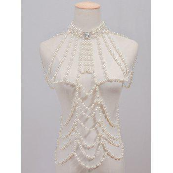 Faux Pearl Rhinestone Beaded Body Chain