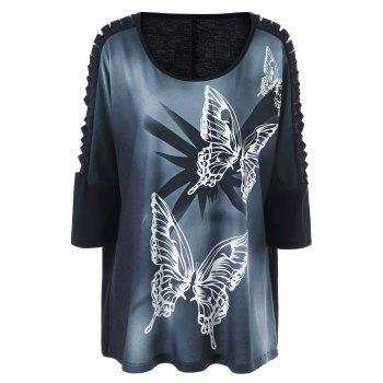 Plus Size Butterfly Print Ripped Long T-Shirt