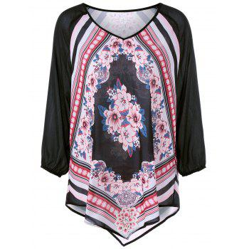 Plus Size Raglan Sleeve Floral Asymmetrical Blouse