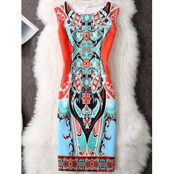 Printed Color Block Sleeveless Bodycon Dress