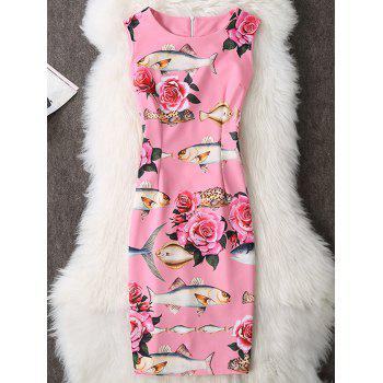 Fish Print Sleeveless Knee Length Bodycon Dress