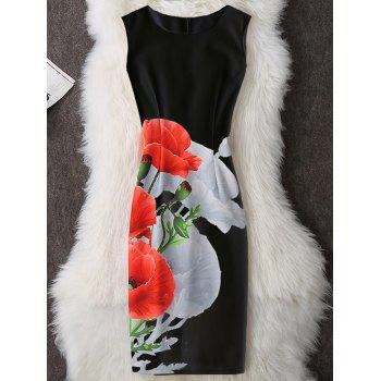 Floral Sleeveless Knee Length Bodycon Dress