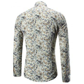 Long Sleeve Tiny Flower Pattern Shirt - COLORMIX 5XL