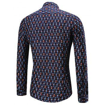 Long Sleeve Scattered Floral Print Shirt - PURPLISH BLUE 2XL