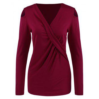 Buy Surplice Cut Ruched Tee WINE RED