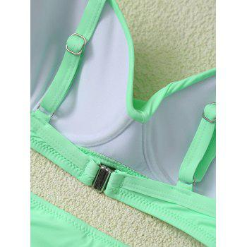 Padded High Waist Candy Color Bikini - GREEN XL
