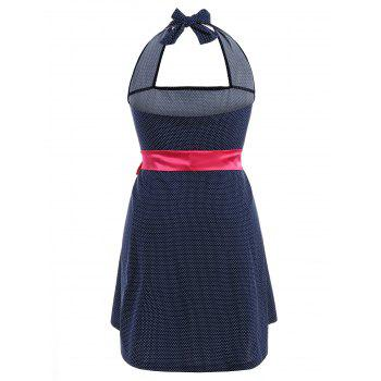 Halter Polka Dot Plus Size Dress With Belt - 2XL 2XL
