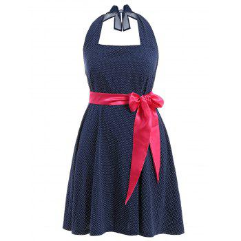 Halter Polka Dot Plus Size Dress With Belt - PURPLISH BLUE 2XL