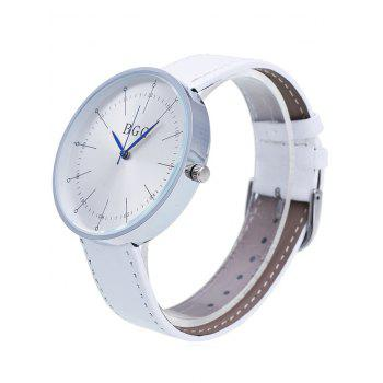 Faux Leather Formal Wrist Watch - WHITE