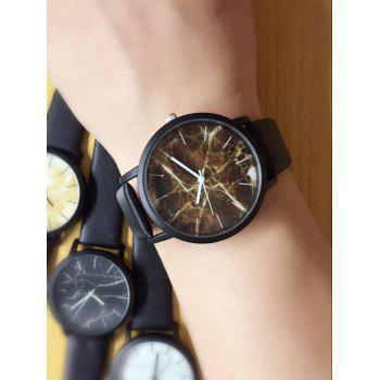 Faux Leather Analog Marble Watch - BROWN