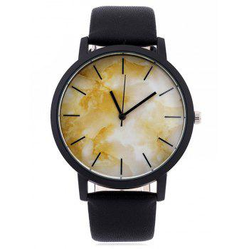 Faux Leather Analog Marble Watch