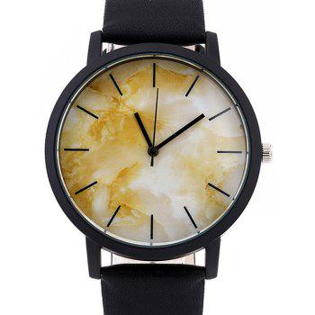 Faux Leather Analog Marble Watch - YELLOW