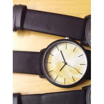 Faux Leather Analog Marble Watch - WHITE