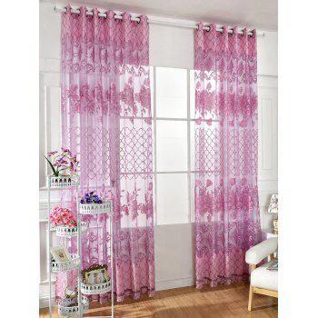 Home Decor Floral Embroidered Perforate Tulle Curtain