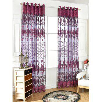 Home Decor Floral Embroidered Perforate Tulle Curtain - AMETHYST 100*250CM