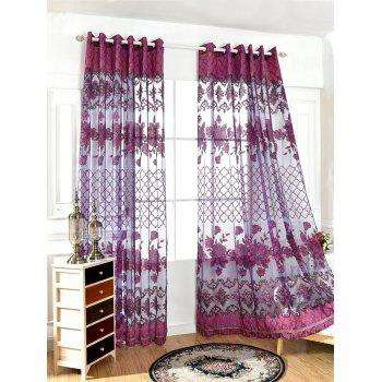 Home Decor Floral Embroidered Perforate Tulle Curtain - 100*250CM 100*250CM