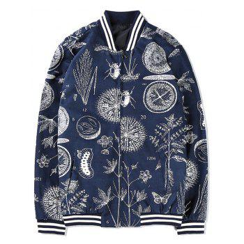 Zip Up Insect and Plant Print Jacket