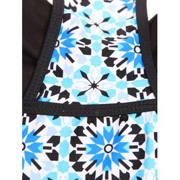 Printed Vintage Padded Racerback Tankini Set - LAKE BLUE XL