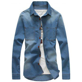 Pockets Turndown Collar Bleach Wash Denim Shirt