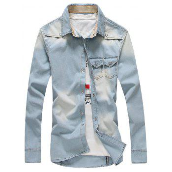 Pockets Design Bleach Wash Denim Shirt