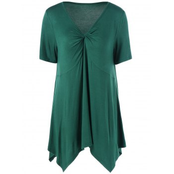 Ruched V Neck Handkerchief Top