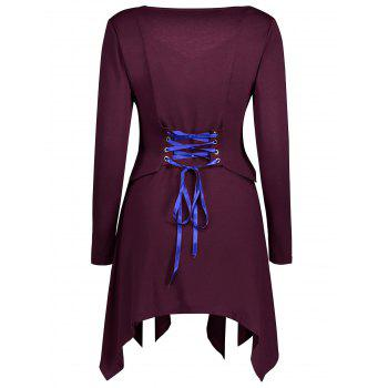 Asymmetrical Lace Up Top - WINE RED L