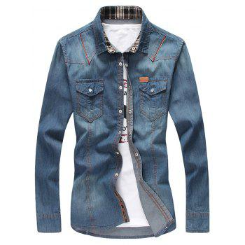 Zipper Design Bleach Wash Pockets Denim Shirt