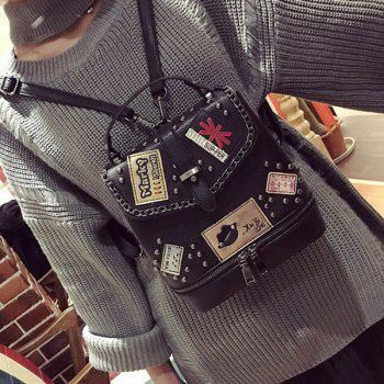 Rivet Patches Chain Trimmed Backpack -  BLACK