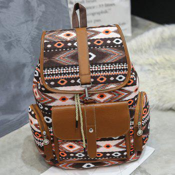 Canvas Tribal Printed Backpack - BROWN BROWN