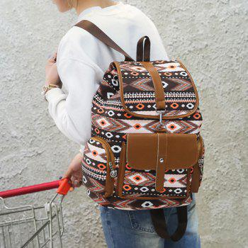 Canvas Tribal Printed Backpack -  BROWN