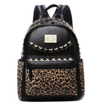Criss Cross Detail Leopard Backpack