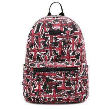 Pad Shoulder Strap Print Canvas Backpack