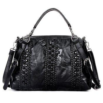 Faux Leather Rivets Braided Handbag