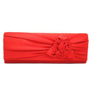 Flower Satin Evening Clutch Bag - RED RED