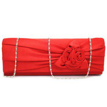 Flower Satin Evening Clutch Bag -  RED