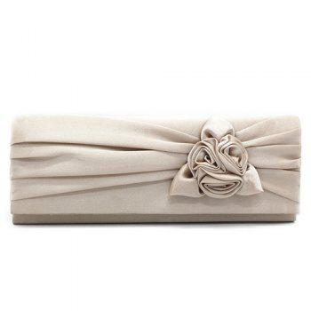Flower Satin Evening Clutch Bag - APRICOT APRICOT