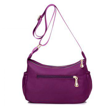 Casual Zips Nylon Cross Body Bag -  PURPLE